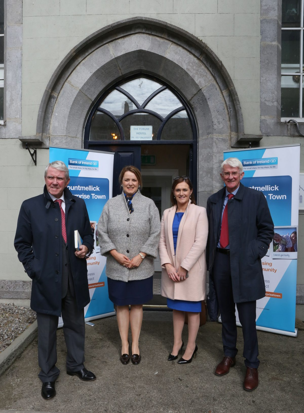 Judges are welcomed by Maria Harris L to R: Eddie Breen (Judge), Maeve Lalor (Judge), Maria Harris (Bank of Ireland), Tom Dowling (Judge).